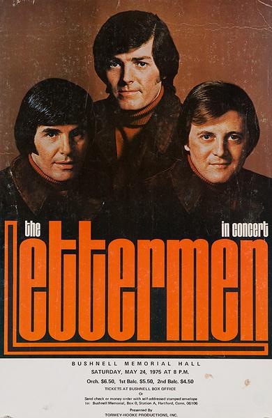 The Lettermen in Concert Bushnell Hall Hartford CT Original Rock and Roll Poster