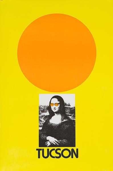 Tucson Arizona Original American Travel Poster Mona Lisa in Sunglasses