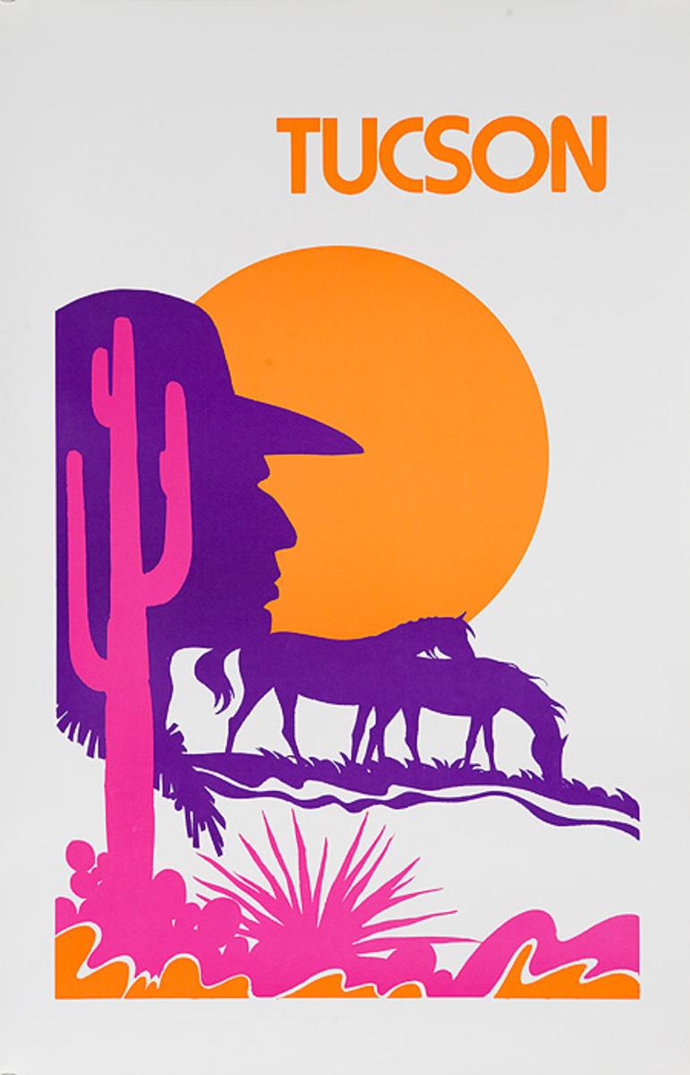 Tucson Arizona Original American Travel Poster Desert Silhouette