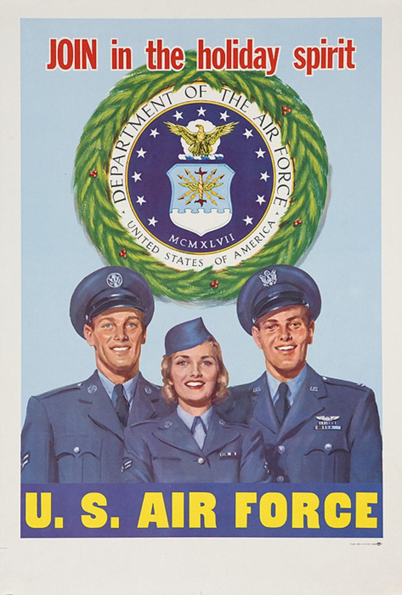 Join The Holiday Spirit Original Korean War US Air Force Recruiting Poster