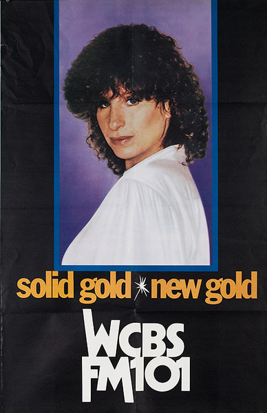 Solid Gold WCBS Fm 101 Original American Radio Advertising Poster Barbara Streisand