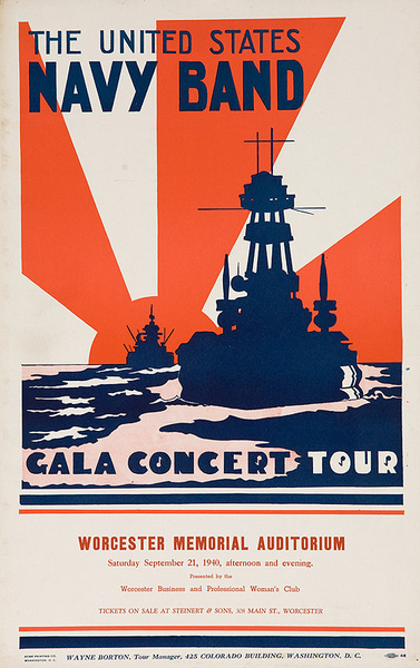 The United States Navy Band Gala Concert Tour Original pre-WWII Poster