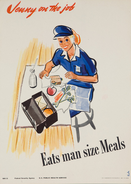 Jenny On the Job Eats Man Sized Meals Original American Women's Cause Home-front Poster