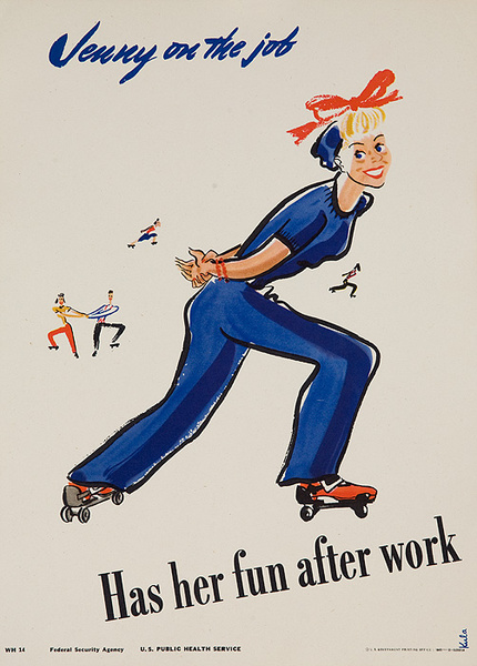 Jenny On the Job Has Her Fun After Work Original American Women's Cause Home-front Poster