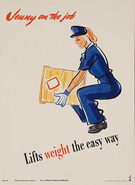 Jenny On the Job Lifts Weights the Easy Way Original American Women's Cause Homefront Poster