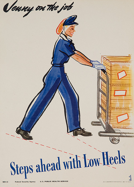 Jenny On the Job Steps Ahead With Low Heels Original American Women's Cause Homefront Poster