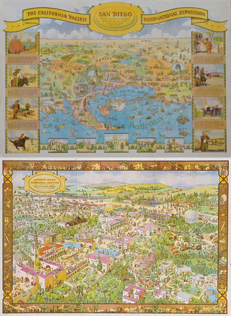 1935 California Expo San Diego Original American Souvenir Map Poster