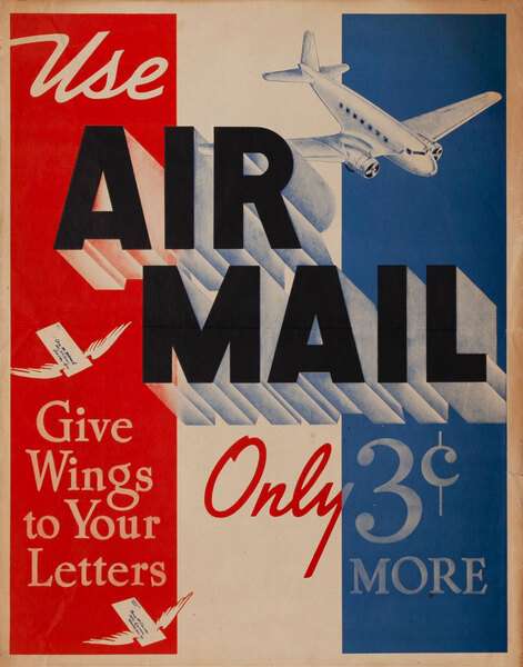 Use Air Mail Only 3c More Original American Postal Poster