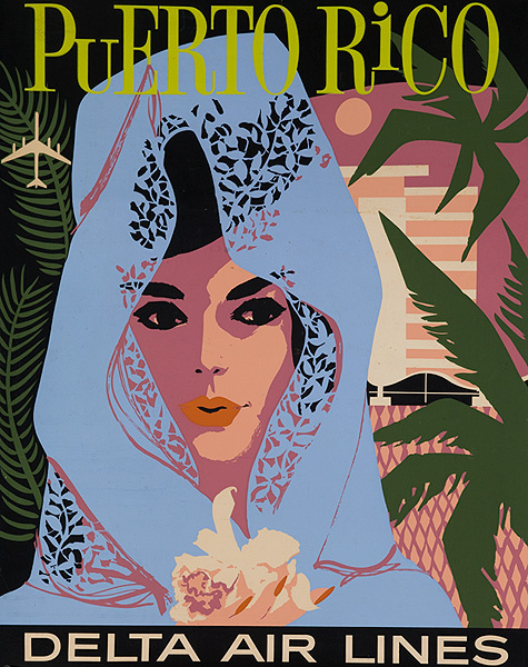 Delta Air Lines Original Travel Poster Puerto Rico woman