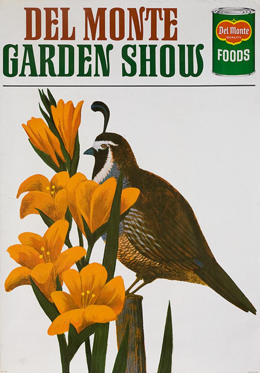 Del Monte Garden Show Original Travel Poster bird yellow flowers