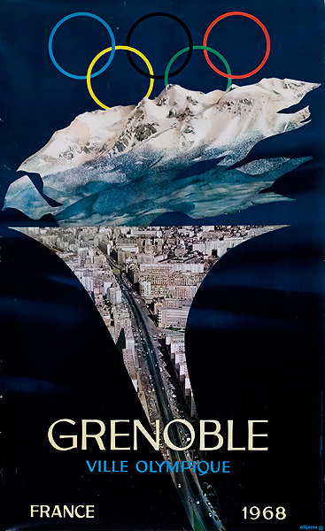Original 1968 Grenoble Winter Olympics Travel Poster Torch