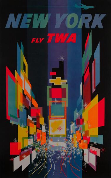 New York Fly TWA Broadway at Night Travel Poster