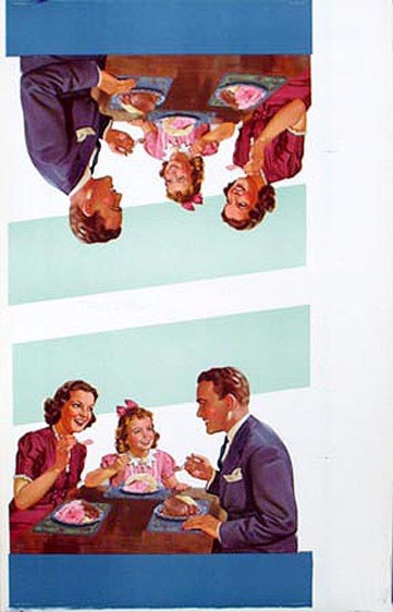 Original Vintage Advertising Poster Ice Cream Eating Family