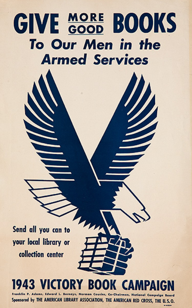 Give More Good Books Original American WWII Home Front Poster