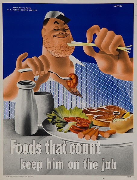 Keep Him on The Job Original WWII Home Front Poster Foods That Count