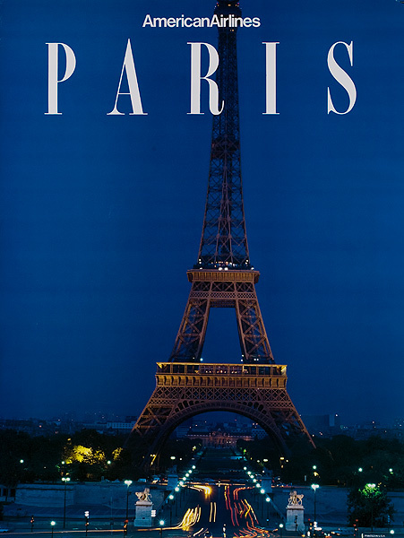 American Airlines Original Travel Poster Paris Eiffel Tower photo