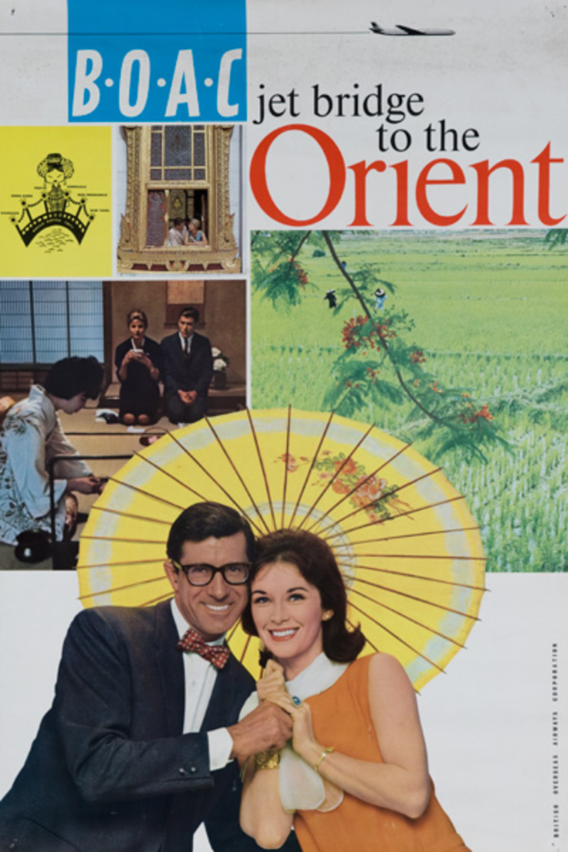 B.O.A.C Jet Bridge to the Orient Original Travel Poster