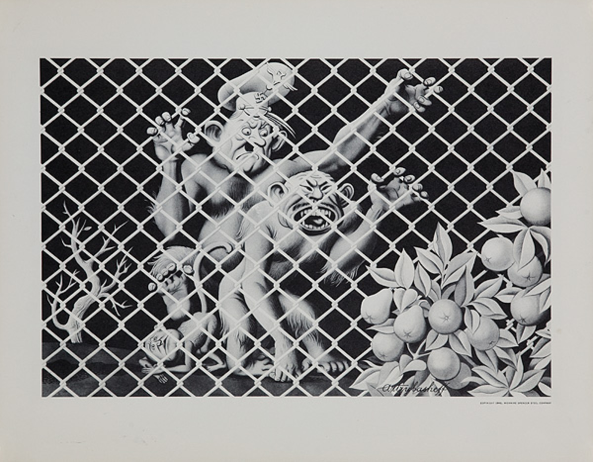 Wickwire Steel Original WWII Poster chain link fence