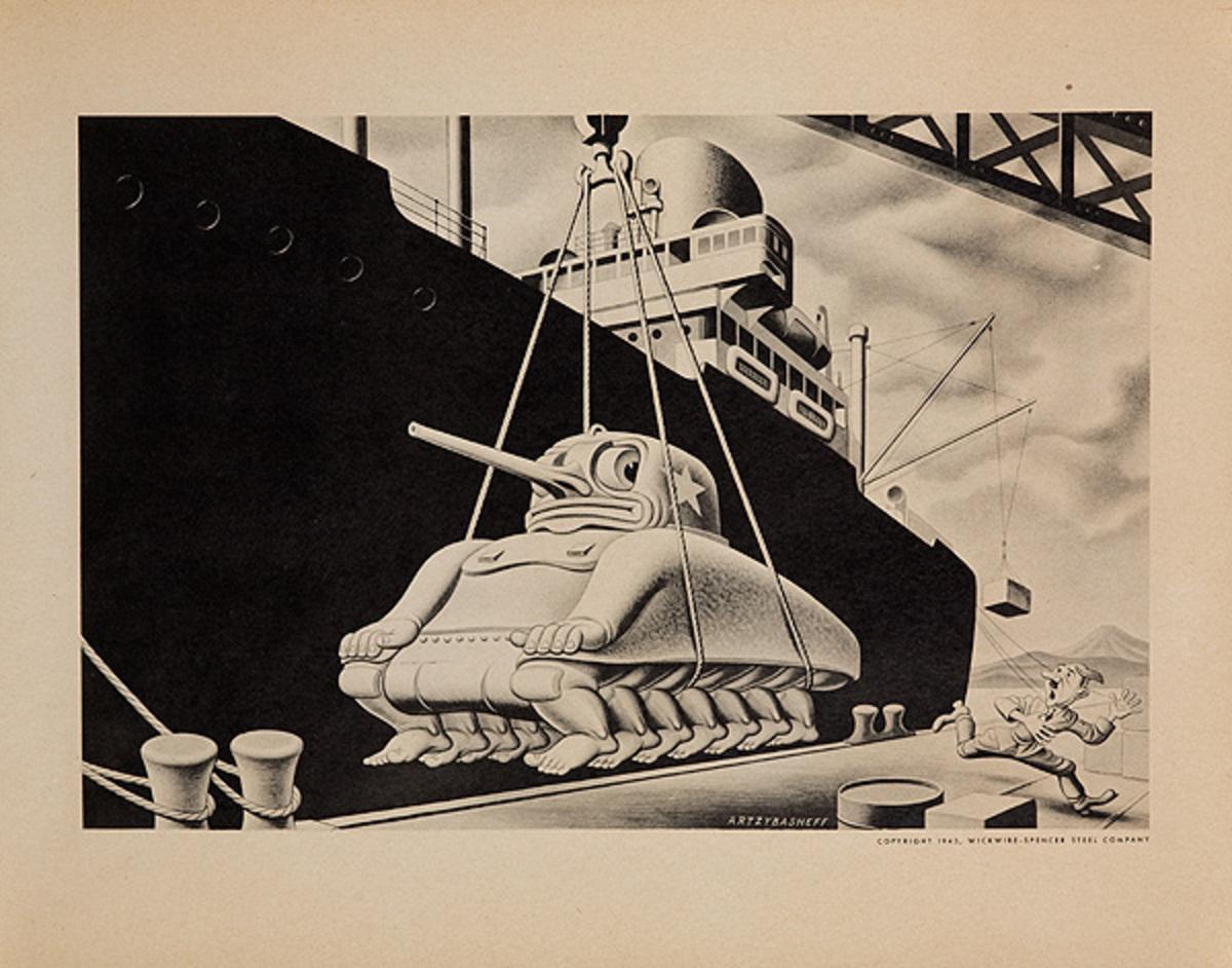 Wickwire Steel Original WWII Poster dockside tank