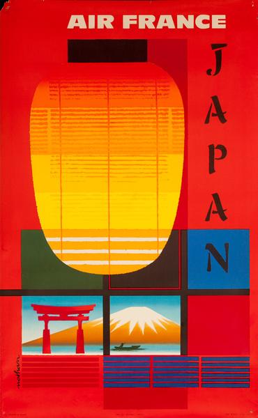 Air France Japan Original Travel Poster lantern