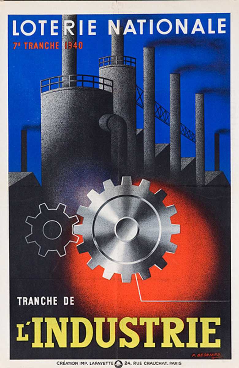 French Loterie Nationale Original Vintage Poster l'Industrie