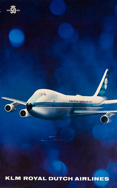 KLM Royal Dutch Airlines1919 -1969 50th Anniversary Original Travel Poster 747