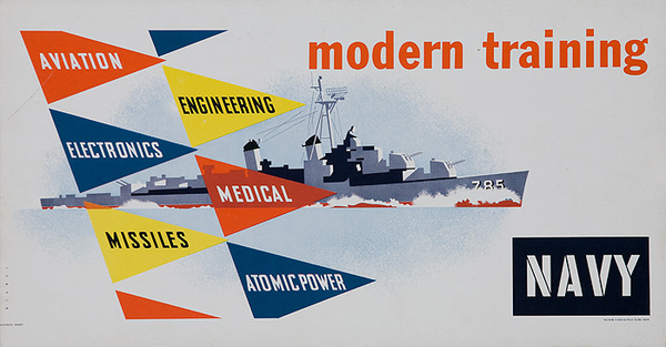 Modern Training Original Korean War Era US Navy Recruiting Poster