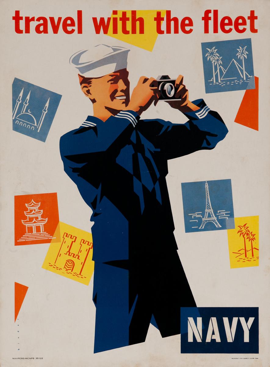 Travel With the Fleet NAVY Original Korean War Era Recruiting Poster