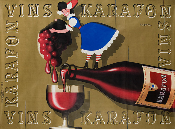 Vins Karafon Original French Wine Poster