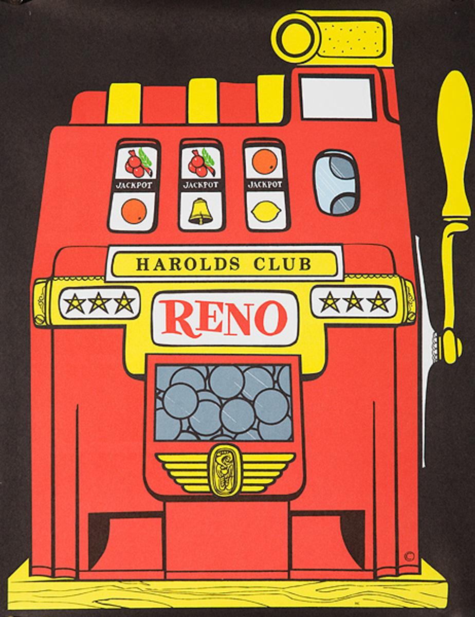 Harolds Club Reno Nevada Original American Gaming Travel Poster Slot Machine