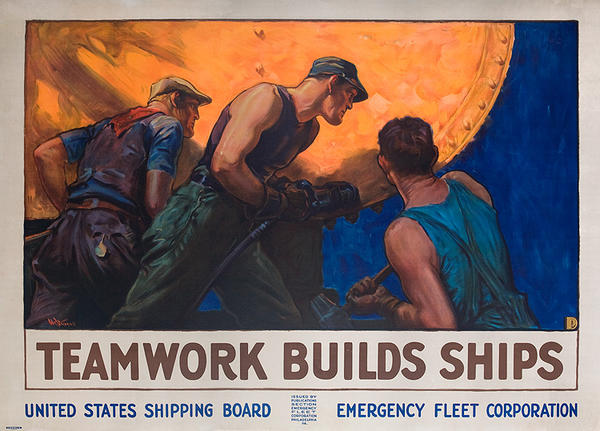 Teamwork Builds Ships Original WWI American Shipping Board Home Front Poster
