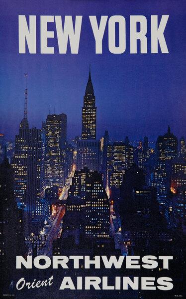 New York Northwest Orient Airlines Travel Poster Night Scene