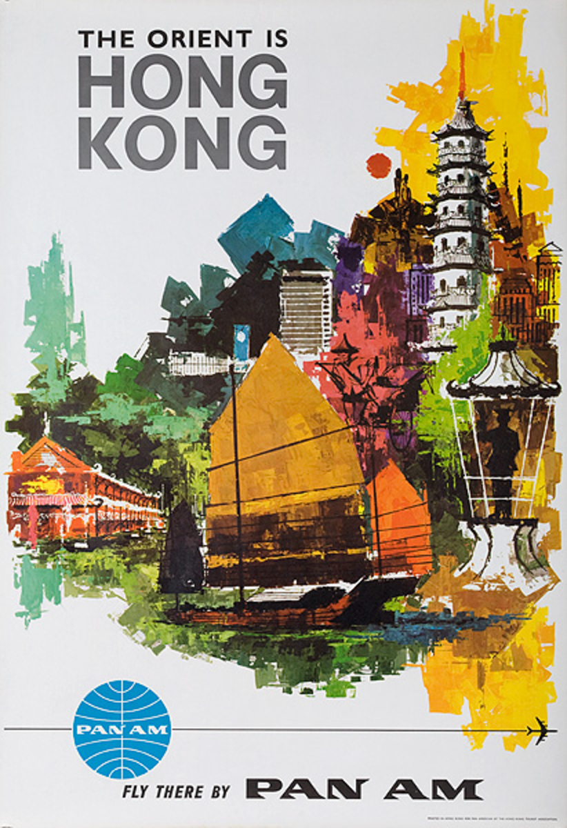 The Orient is Hong Kong Fly There by Pan Am Original Travel Poster