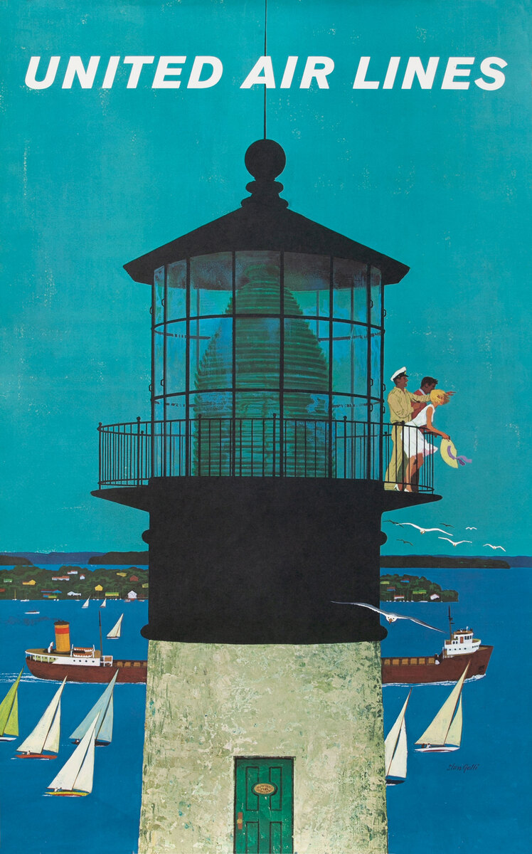 United Air Lines Original Travel Poster Great Lakes Lighthouse