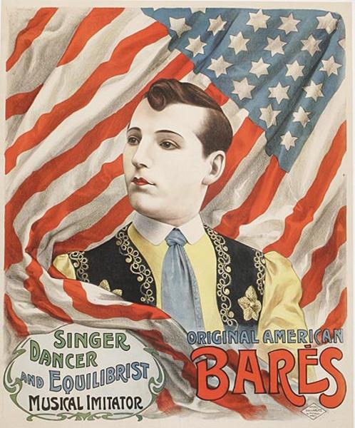 Original American Singer Dancer and Equilibrist Bares Original French Theatre Advertising Poster