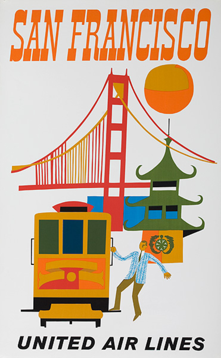 United Airlines Travel Poster San Francisco Bridge silkscreen