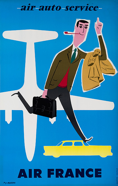 Air France Air Auto Service Original Travel Poster
