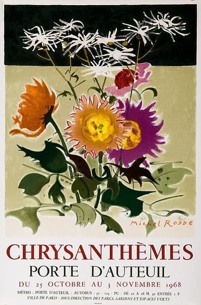 Chrysanthememes Chrysanthemum  Original French Flower Show Poster