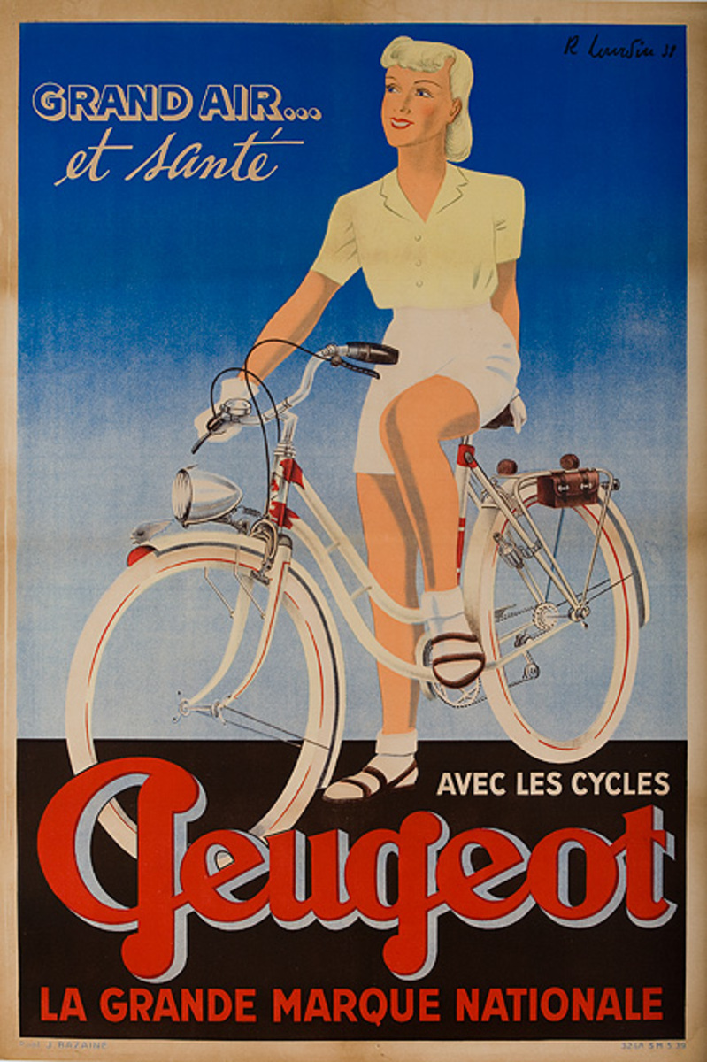 Grand Air et Sante Avec Peugeot Original French Bicycle Advertising Poster