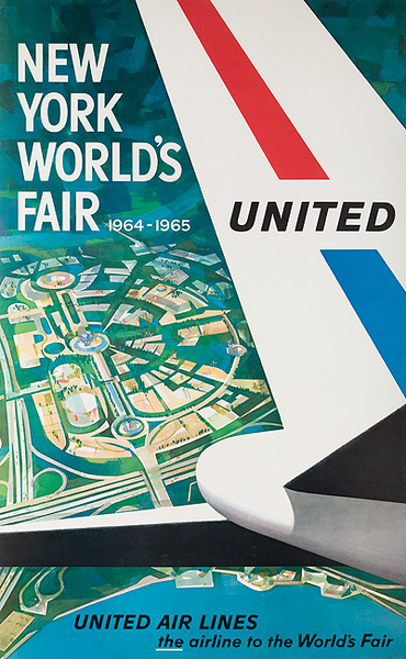 1964 New York World's Fair United Air Lines Travel Poster