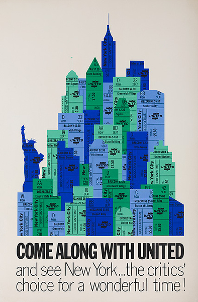 Come Along With United Original UAL New York Travel Poster