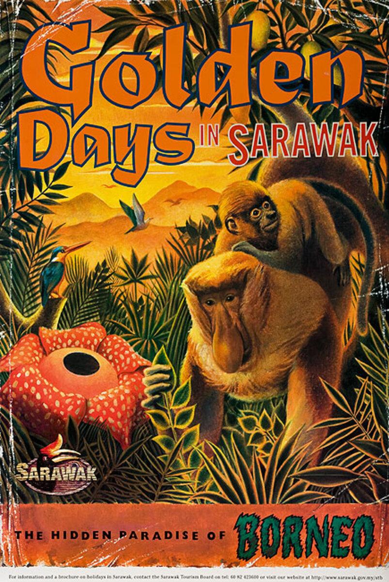 Original Borneo Travel Poster Golden Days