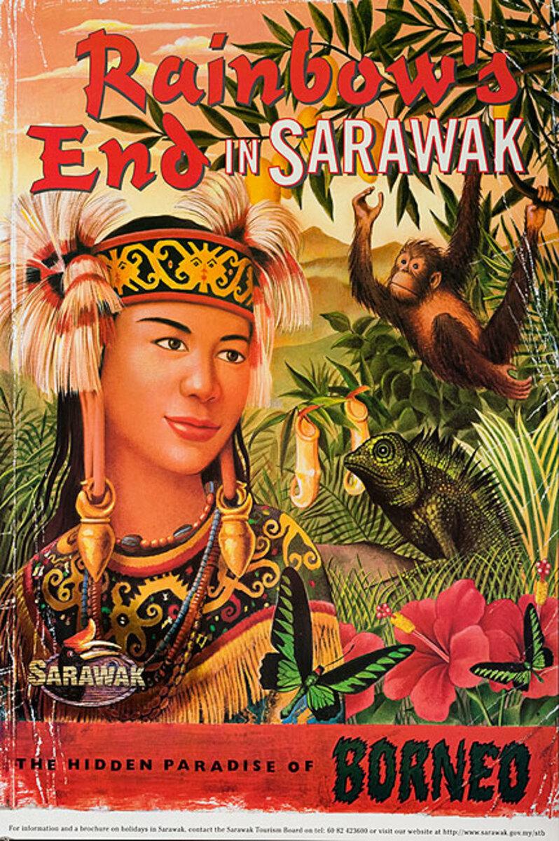 Original Borneo Travel Poster Rainbow's End in Sarawak