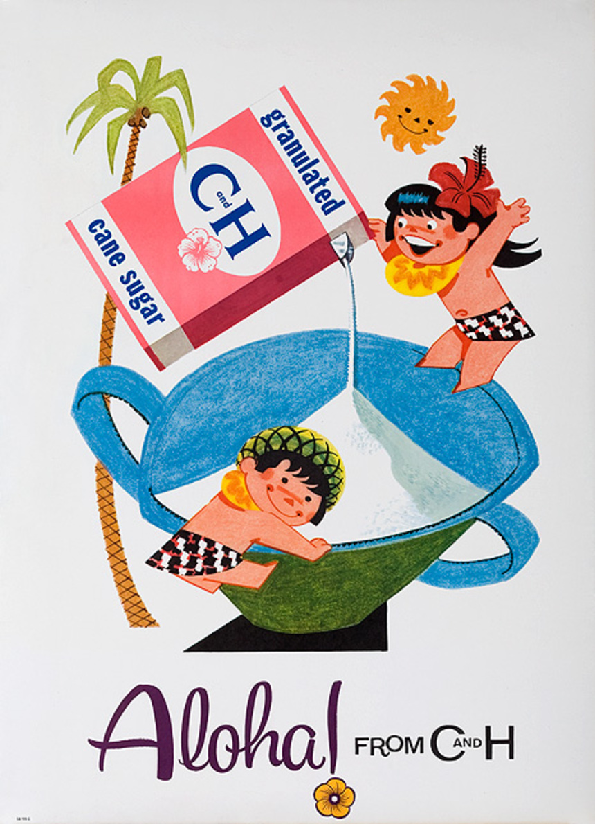 Original Aloha From C&H Advertising Poster Granulated Sugar box