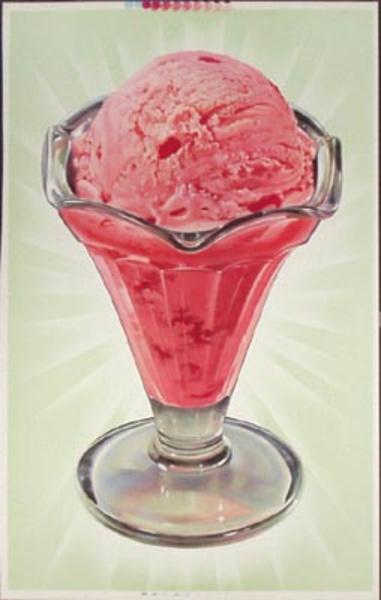 Original Vintage Giant Strawberry Ice Cream Poster