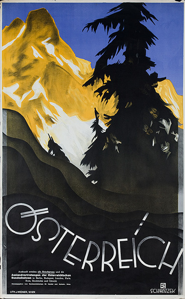 Austria Travel Poster Osterreich Mountain Scene