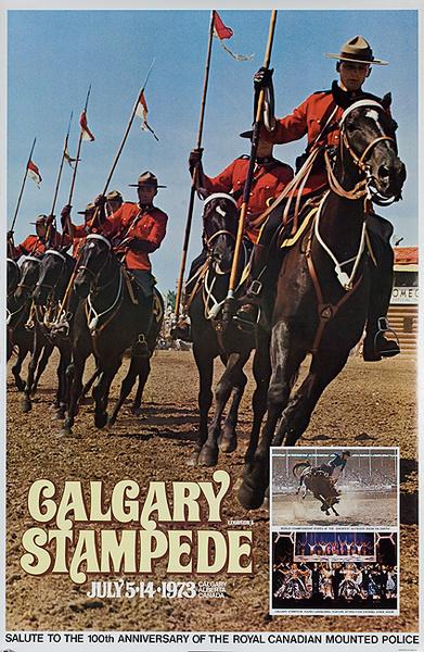 Calgary Alberta Stampede Original Canadian Travel Poster 1973