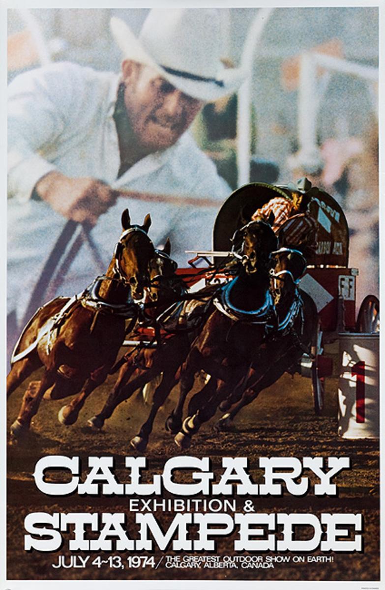 Calgary Alberta Stampede Original Canadian Travel Poster 1974