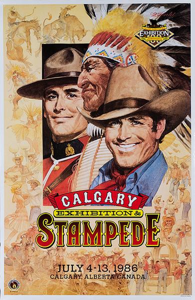 Calgary Alberta Canada Stampede Original Vintage Rodeo Travel Poster 1986
