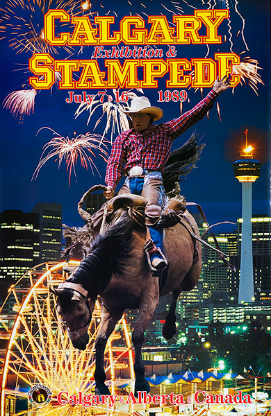 Calgary Alberta Canada Stampede Original Vintage Rodeo Travel Poster 1989